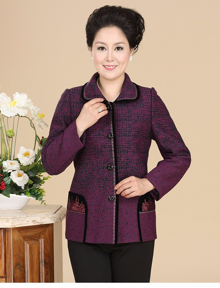 Chinese Autumn Jacket Women\'s 2016 Elegance Red Purple Coat For Middle Aged Woman Button Front Turn Down Collar Casaco Feminino 40s 50s 60s (10)
