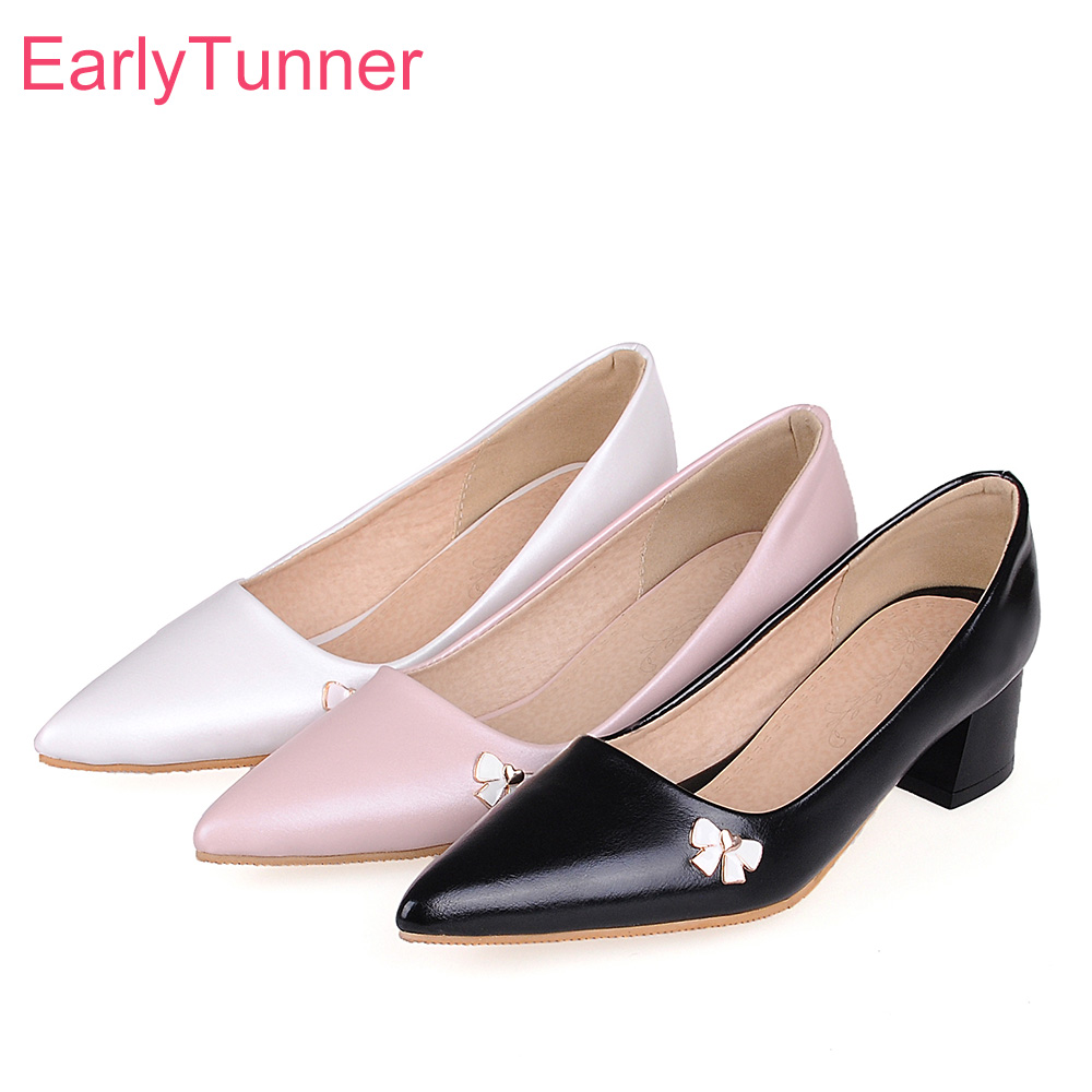 Brand New Comfortable Black White Women Nude Formal Pumps Sweet Med Heels Lady Office -4991