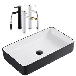 Скандинавский керамический умывальник, квадратный умывальник, простой черный умывальник для ванной, Европейский художественный Умывальни...