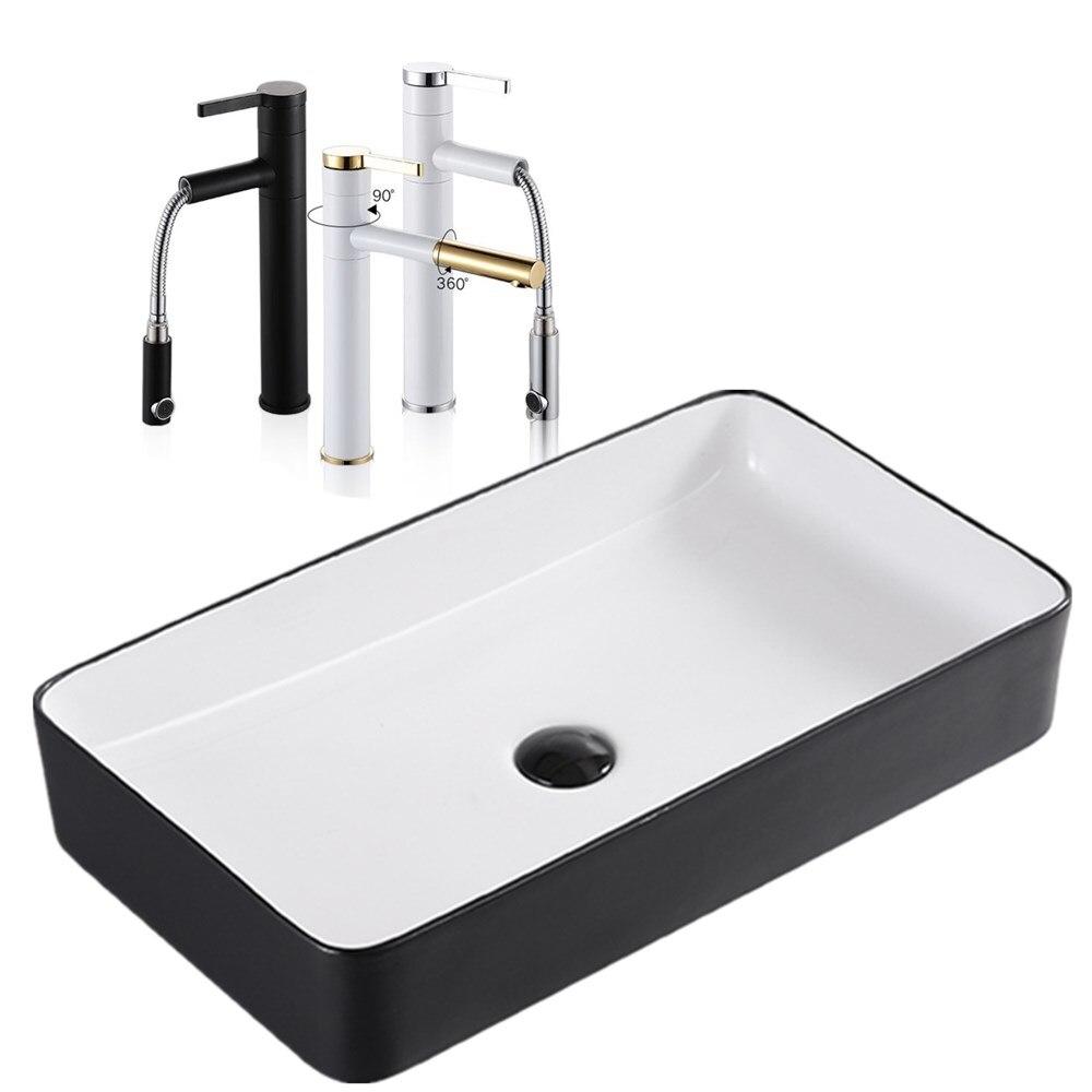 Lavabo céramique nordique lavabo carré simple noir salle de bain art européen lavabo maison bassin