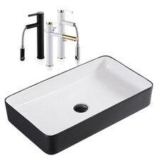 Lavabo nórdico de cerámica, lavabo cuadrado, lavabo simple de baño negro, lavabo de arte europeo, lavabo para el hogar