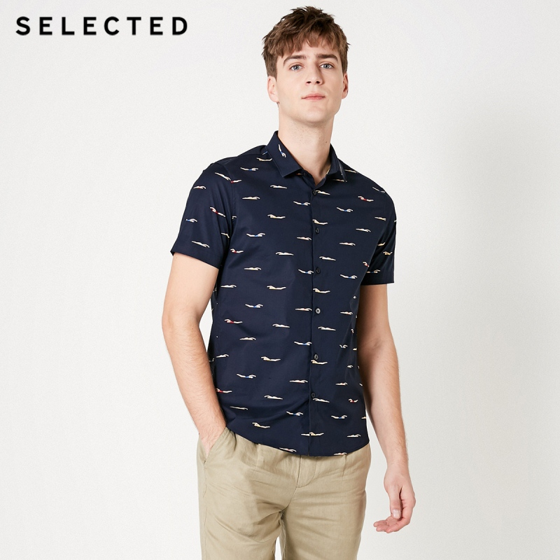 SELECTED Men's Colored Print Casual Handsome Summer Short-sleeved Shirt S|419204562