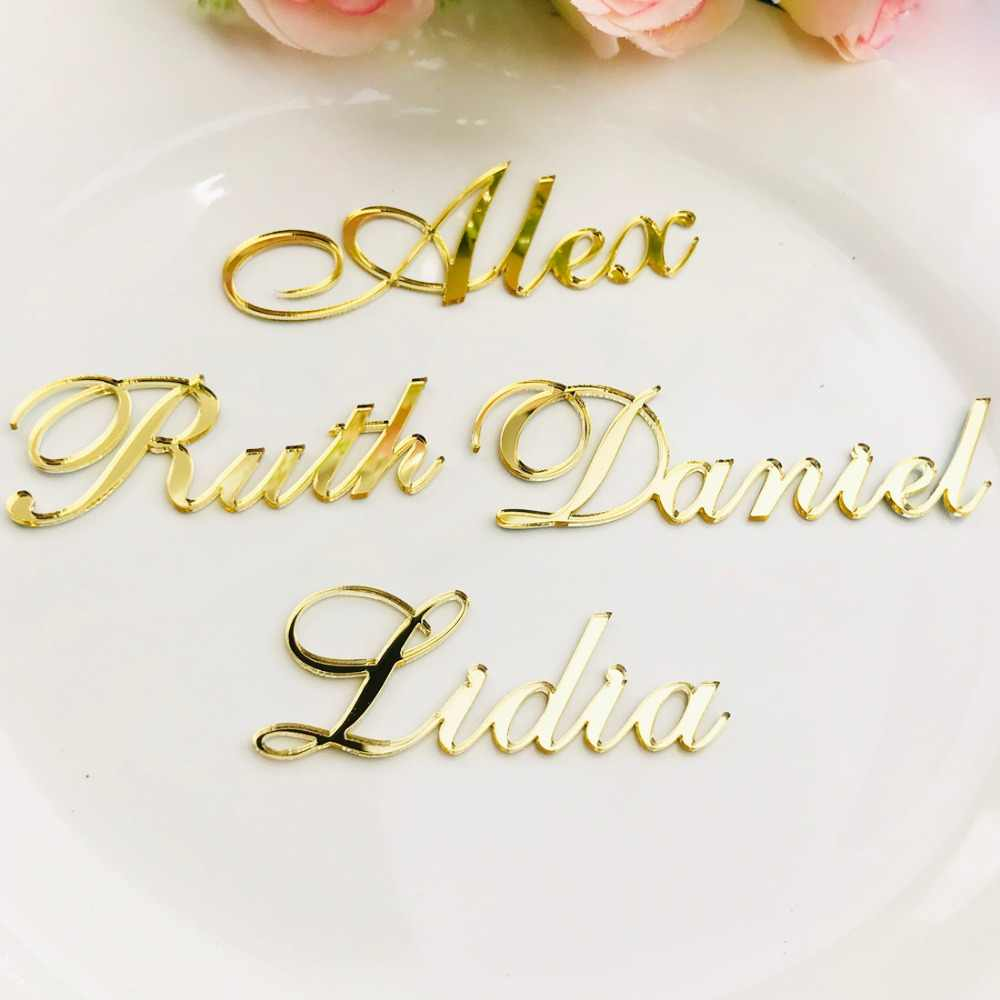 Personalized Customized Gold Silver Gold Wood Guest Place Names for Wedding Place Card Sign Bonbonniere Table Setting Plan