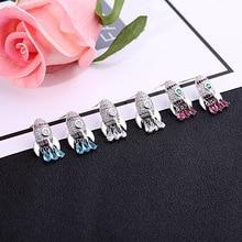 hot deal buy fine jewelry rocket earrings for women statement earrings funny jewellery accessories blue red crystal earring 925 stud earrings
