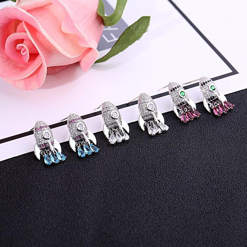 Fine Jewelry Rocket Earrings For Women Statement Earrings Funny Jewellery Accessories Blue Red Crystal Earring 925 Stud Earrings