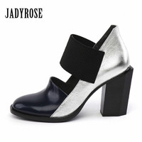 Jady Rose Black Sexy Women Shoes Summer Autumn Leather Ankle Boots Gladiator Sandals Thick High Heels Casual Shoes Woman Pumps