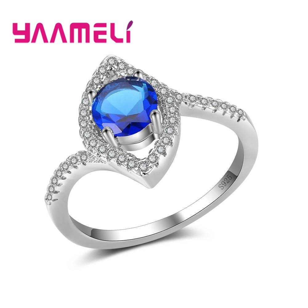 YAAMELI Beautiful Special Eyes Design Round Shape Cubic Zircon Finger Rings New Modern 925 Sterling Silver Present Anniversaries