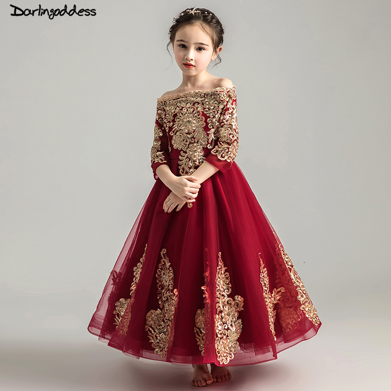 Flower Girl Dresses For Weddings Lace Ball Gown Long Sleeves Kids Evening Gown First Communion Dresses for Girls Pageant Dress