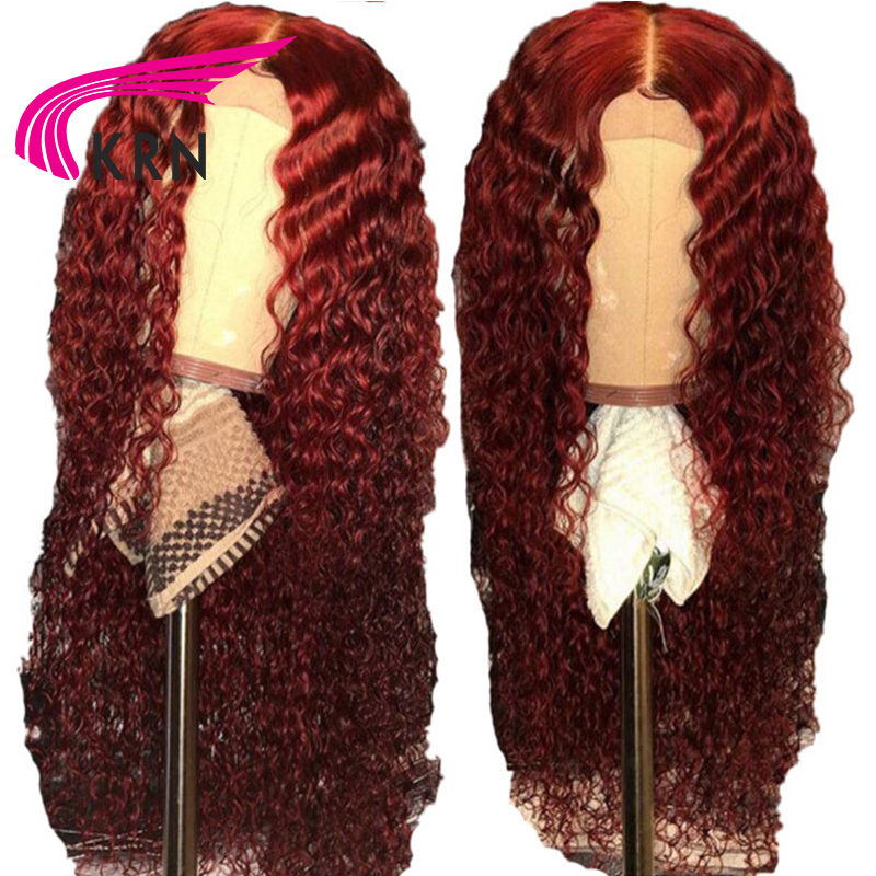 KRN 99J 13x6 Lace Front wig Human Hair Burgundy Colored Human Hair Curly Wigs free Part