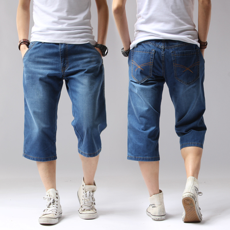 2017 Summer Denim Jeans Men Shorts Casual Solid Loose Shorts Cargo Knee Length Short Men Big Size 38 40 42 44 A3229