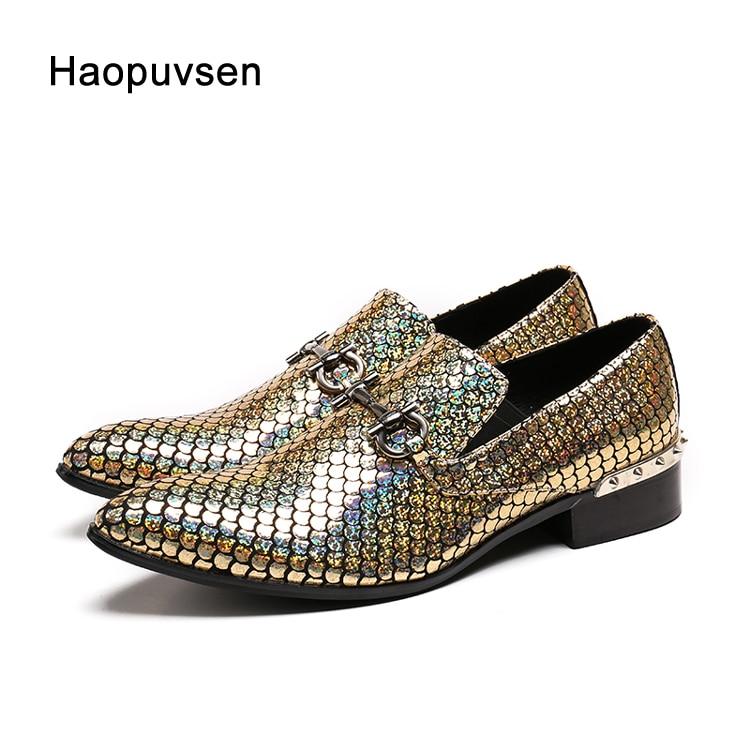 2018 Haopuvsen brand New gold handmade men loafers men fashion leather shinny glitter wedding dress shoes