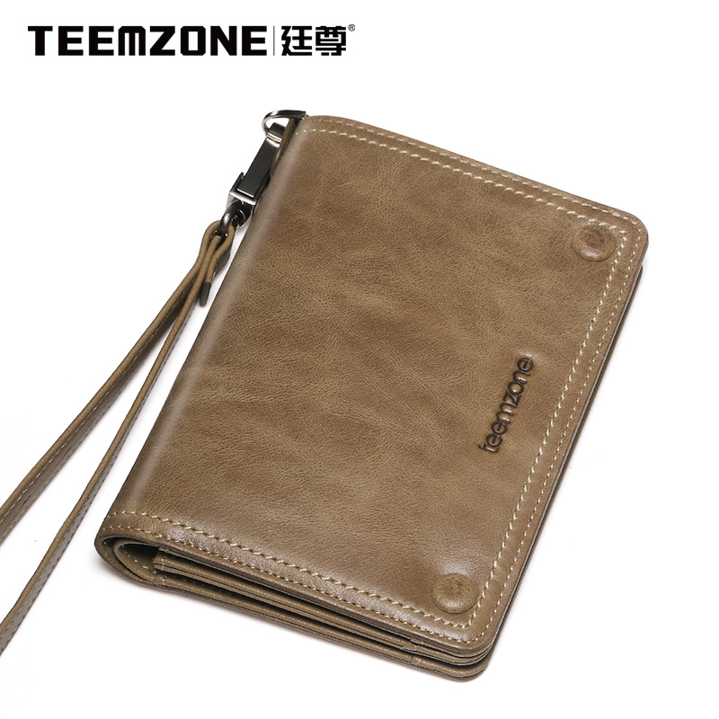 Teemzone Brand Men Leather Genuine Clutch Bag Business Casual Large Capacity Handbag Cowhide Wallet Men's Purse Free Shipping
