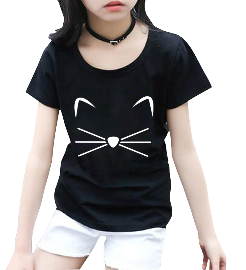 KITTY KITTEN Meow Print kids T shirt Cotton Casual Funny Shirt For girls tops tee hipster streetwear short sleeve casual t-shirt casual cat print ringer tee