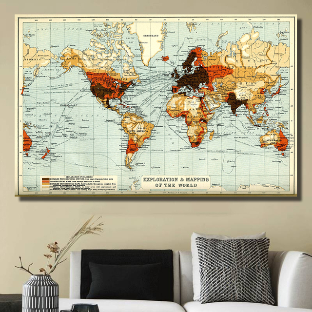 QKART World Map Extra Large Modern Gallery Wrapped Contemporary ...