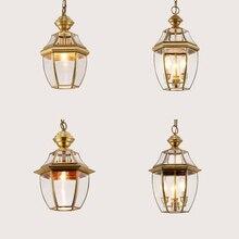 лучшая цена Luxurious Industrial Pendant Lights Glass Shade Led Hanging Light Living Room American Loft Retro Pendant Lamp Copper Luminarias