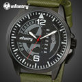 INFANTRY Luminous Sports Watches Men Military Genuine Leather 30M Water Resistant Quartz Wristwatches World Peace Keeper Relojes