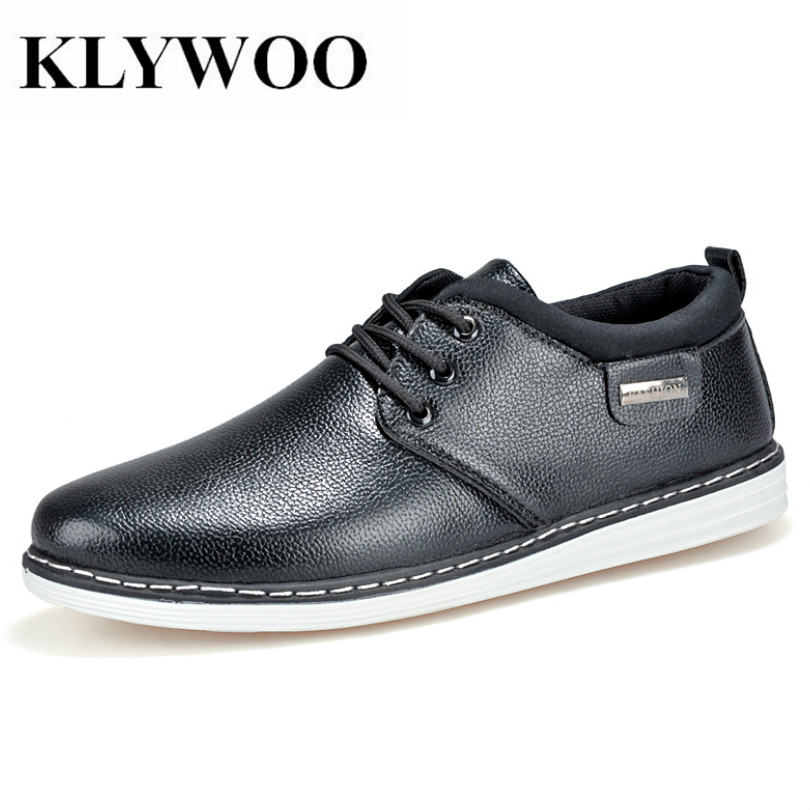 KLYWOO New White Fasion Shoes Men Casual Shoes Spring Men Driving Shoes Leather Breathable Comfortable Lace-Up Zapatos Hombre