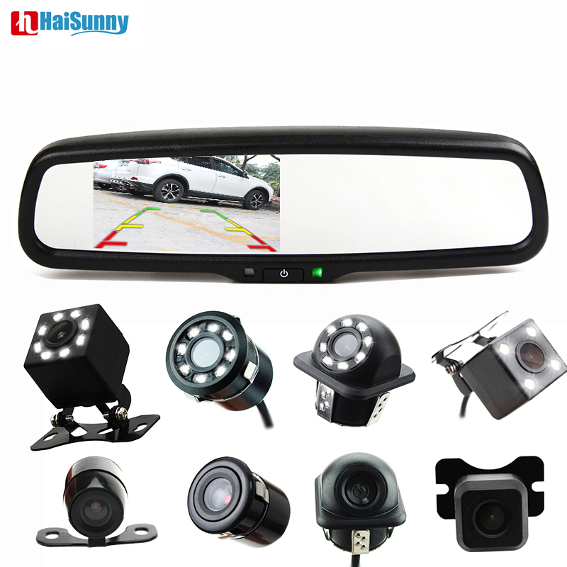 HaiSunny 4 3 Car Rear View Mirror Monitor With a special Bracket Auto LED Reverse Camera
