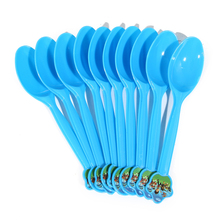 Blue Plastic Spoons for Kids