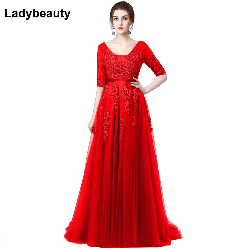Sexy Backless Long Evening Dress Vestido De Festa A-line Appliques Beading Gown Half Sleeved Robe De Soiree Party Prom Dress