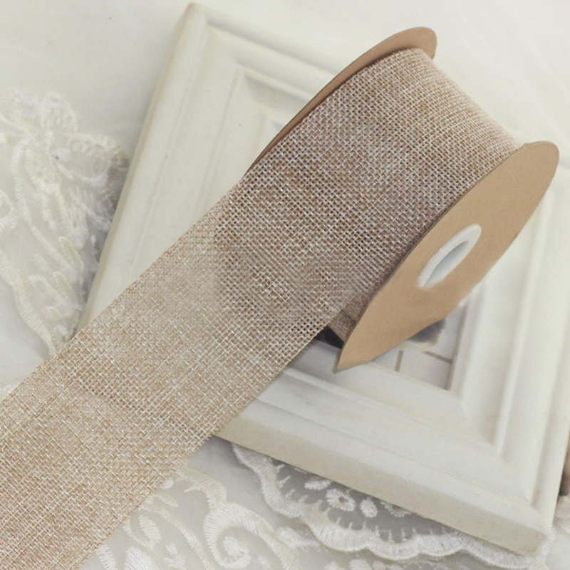 Color Jute Satin Ribbon Burlap Wedding Party Decoration Invitation Card Gift Wrapping Christmas Supplies Biband
