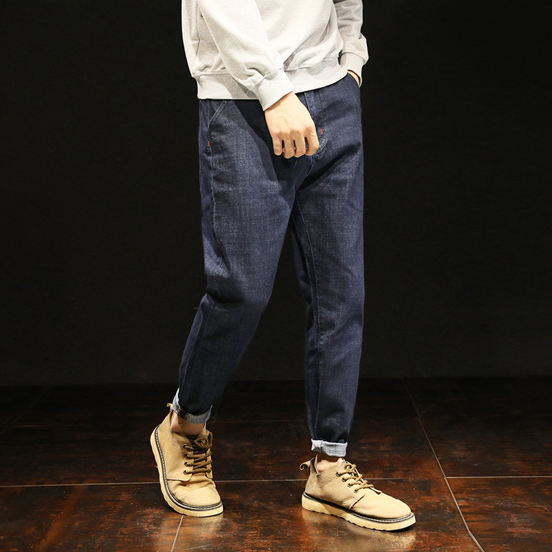 Male Haren Trousers Male Directly Personality Leisure Pants Gloria Men Black Jeans Hip Hop Streetwear Pocket Denim Clothes
