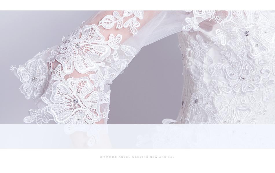 Angel Wedding Dress Marriage Bride Bridal Gown Vestido De Noiva 2017 Boat Neck horn sleeve, big tail 6910 8
