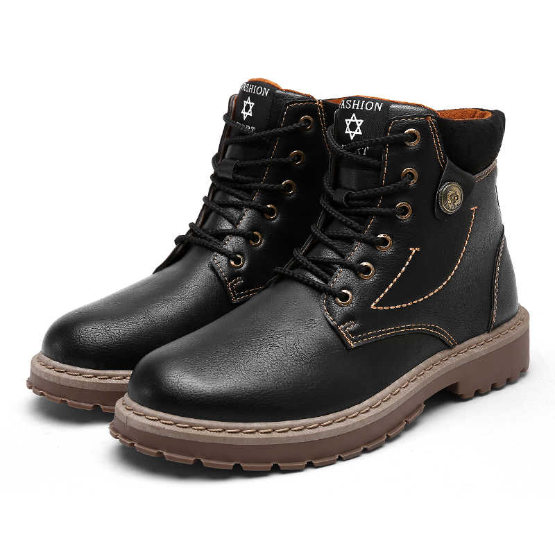 Erkek deri botları rahat kış sıcak ayakkabı erkek motosiklet erkekler yarım çizmeler erkekler Oxfords kar ayakkabıları erkekler iş çizmeleri Martens