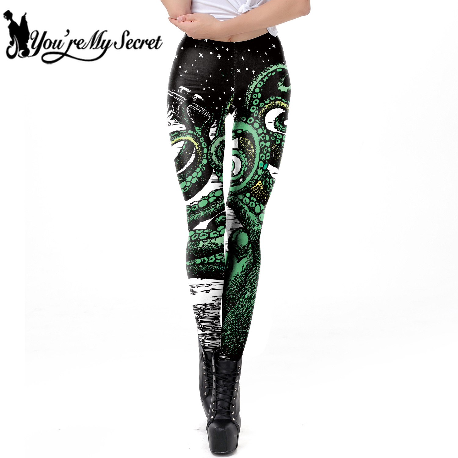 [You're My Secret] 2019 Black Starry Green Octopus Printed Gothic Style   Leggings   for Women Fantastic Elastic Waist Ankle Pants
