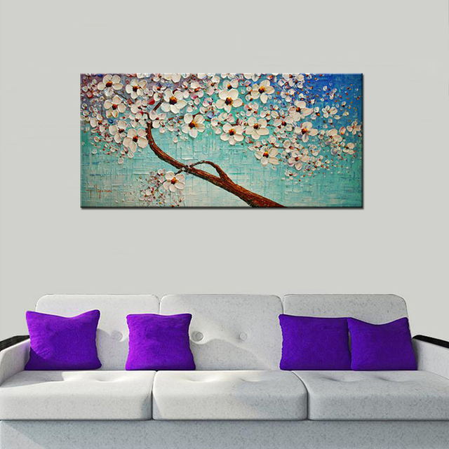 Arte de decoración de flores pinturas al óleo de árbol de cerezo ...