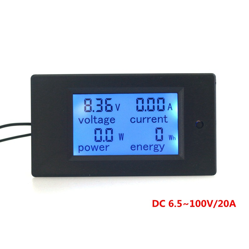 DC 6.5-100V/20A Voltmeter Ammeter Multifunction 4 in 1 LCD Display Voltage Current Power Energy with Blue Backlight цена