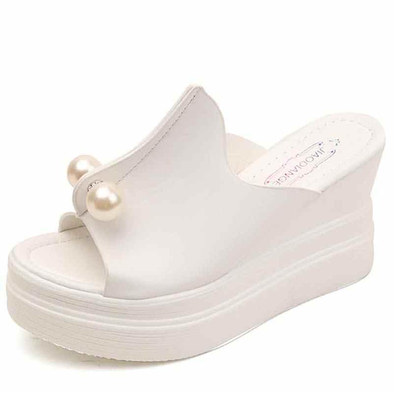 Été talons hauts sandales chaussures à semelles compensées pour femmes plate-forme chaussures cheville sangle pantoufles adultes dames sans lacet noir Creepers sandales