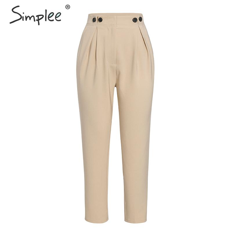 Simplee Solid casual harem pants female trousers High waist office ladies blazer suit pants Loose Ankle-length women pants 19 9