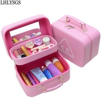 Women Travel Double Stereotypes Large Mirror Beautician Organizer Cosmetic Case Ladies Waterproof Toiletry Make Up Tools