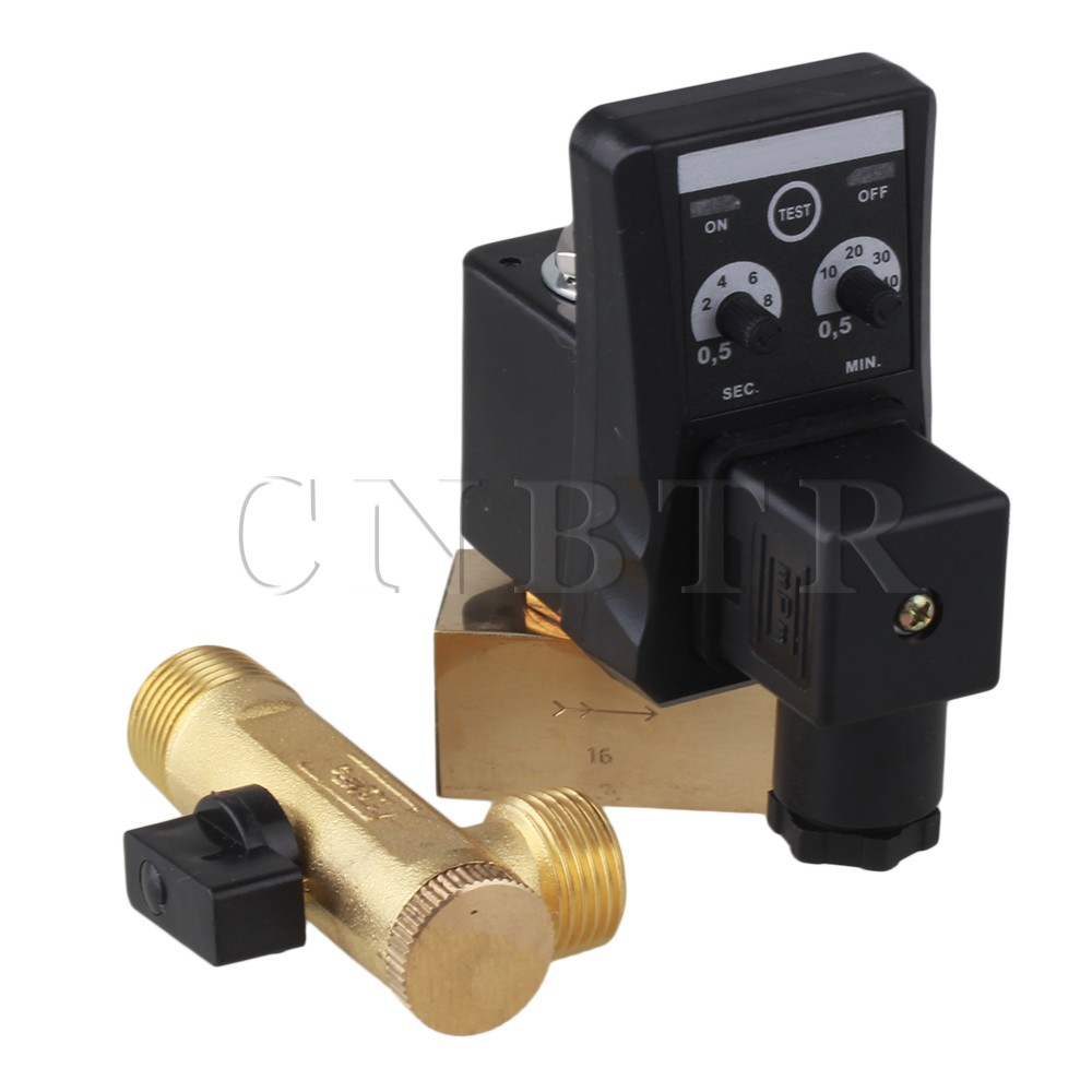 CNBTR 1/2 Electronic Timed Air Compressor Automatic Forging Brass Drain Valve AC110V best nr 0200 2 way electronic auto timer compressor drain valve 220v ac 1 2 orifice 3mm brass flow drainer