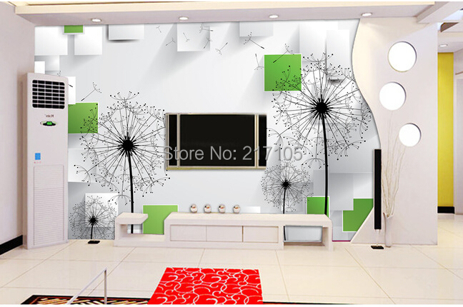 3 d large murals, contemporary and contracted  dandelion wallpaper, the sitting room the bedroom TV setting wall contact paper 1 pc contemporary and contracted sitting room led copper dome light in the kitchen