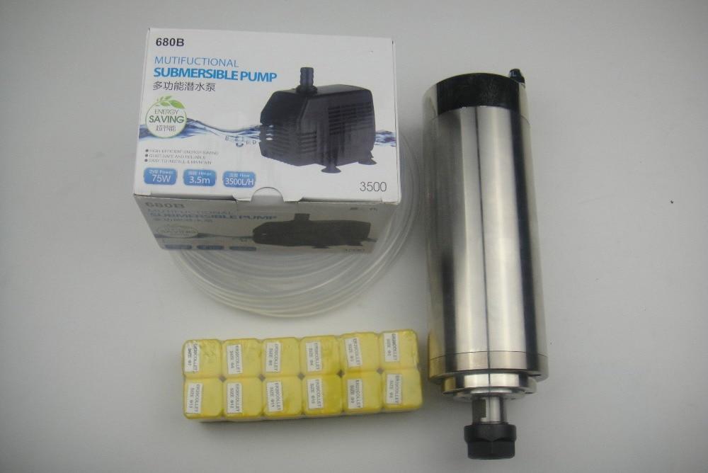 Husillo de fresado CNC ER20 Husillo de refrigeración por agua 2.2KW +1 bomba de agua + 1 tubería de agua + pinzas ER20