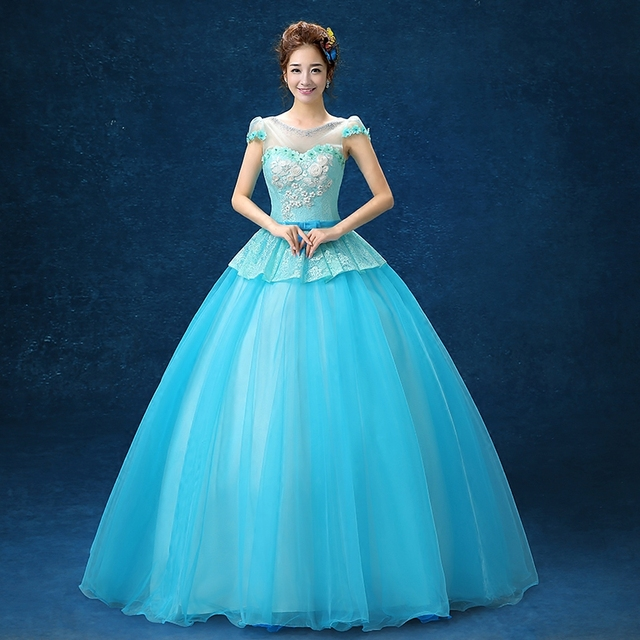 lace flower light blue beading ball gown Medieval Renaissance Gown ...