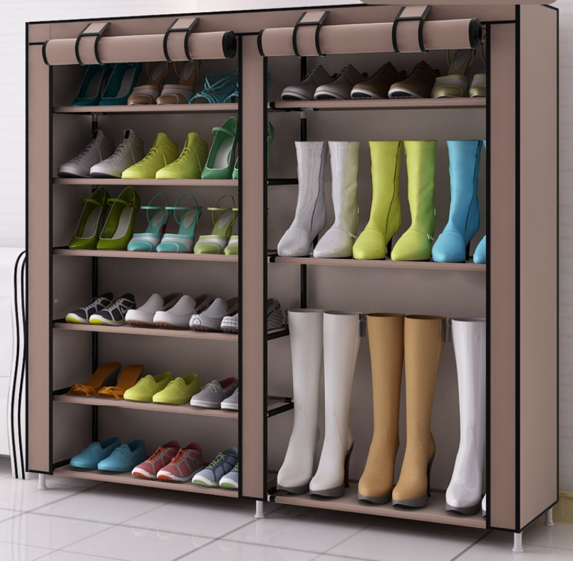 shoe rack iron tube non woven fabric 110x120x30cm big shoe cabinet organizer portable shoe boot storage home furniture c119