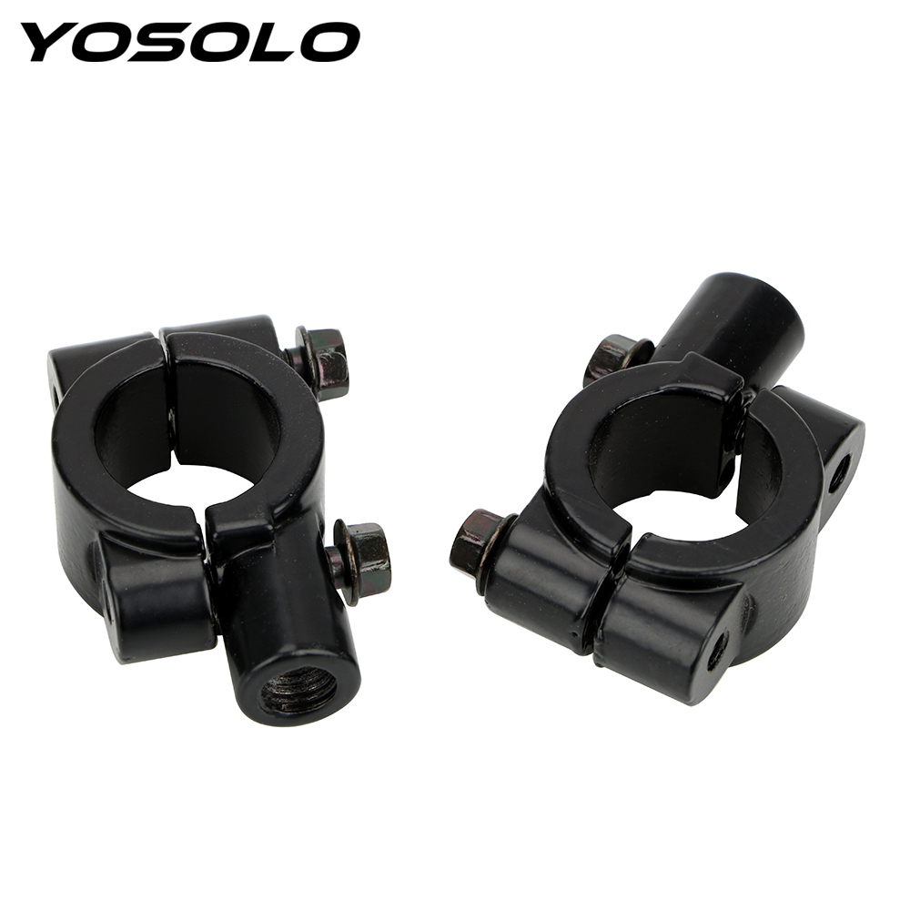 2pcs Motorcycle 7/8 Handle Bar Mirror Mount Moto Accessories 8mm 10mm Rearview Mirror Mount Holder Clamp Adaptor Universal image