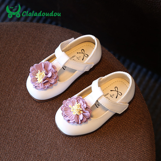 Claladoudou Insole 12-14CM Infant Baby Girls Shoes White Red Flower Pure Prewalker Cute Girl First Walkers New Design Dress Shoe
