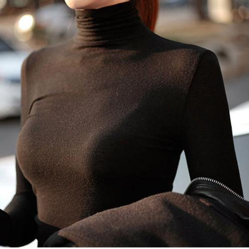 Women T Shirt New Spring Autumn Turtleneck Solid Casual Tees Ladies Long Sleeve Slim Sexy Black Tops Female Basic Tee Shirts