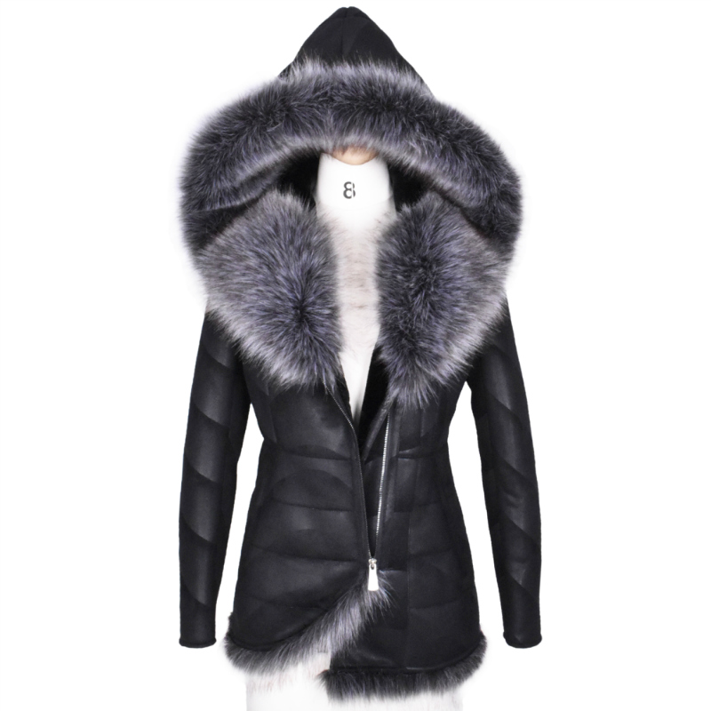 Winter Women Coat Very Warm Artificial Fox Fur Thick Hooded Outerwear Plus Size 5XL Fashion Faux Suede Jacket