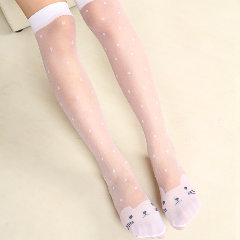 Children's Tube Socks Women's Breathable Thin Knee-High In Tube Socks Solid Color Mid Silk Socks Ladies Mesh  Dance Butterfly