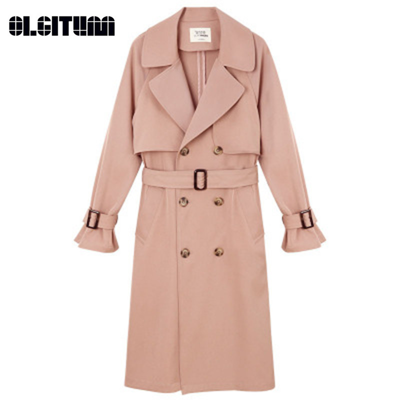 New 2018 Autumn Korean Double-breasted Waist Chic Women   Trench   Windbreaker Female Long Loose Slim Coat