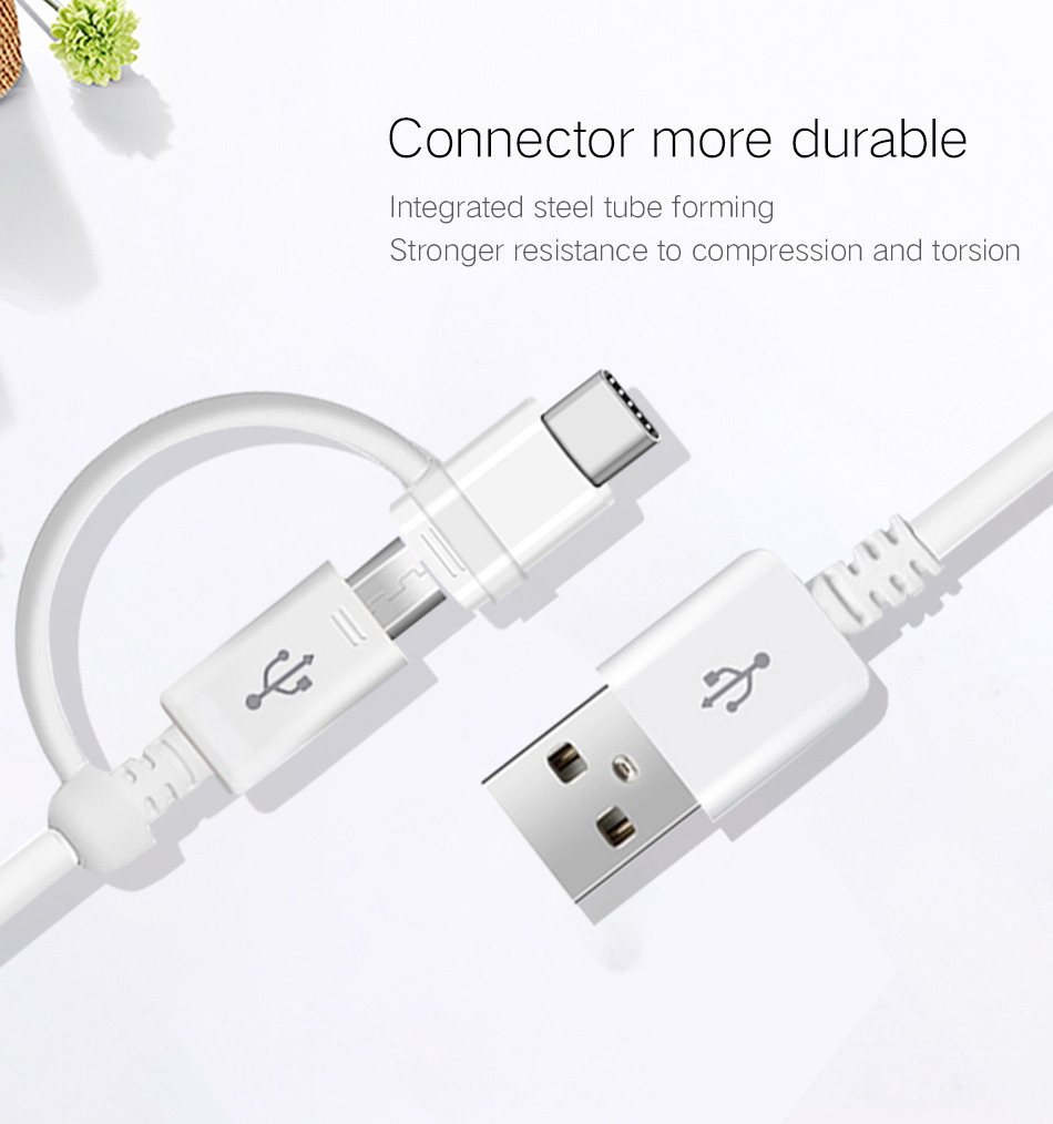 3Samsung S8 S8 plus Samsung Micro Usb Cable 2 in 1 USB Type C Cable Original Quick Charger Charge Type C Cable S9 S9 plus