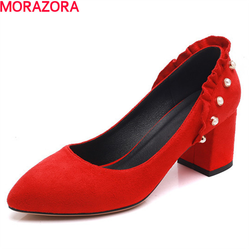 MORAZORA 2018 pointed toe spring summer female pumps shallow slip on high heels square heel wedding shoes ladies shoes 2018 spring autumn new lace flower wedding shoes slip on round toe bridal shoes high heel women pumps shallow pointed toe 8 5cm