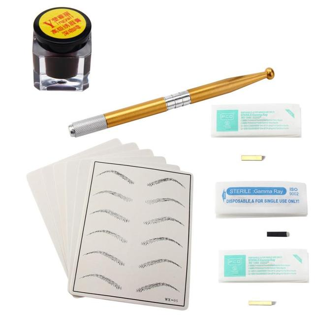 Excellent Quality Silicone,plastic,Stainless Steel Microblading Permanent 3D Makeup Eyebrow Tattoo Needle Pen Pigment Kit  Anne