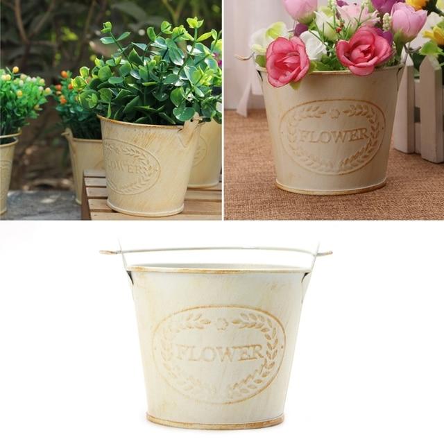 Vintage Galvanised Metal Iron Flower Shabby Vase Pot Barrel Planter Garden Decor Pots Planters