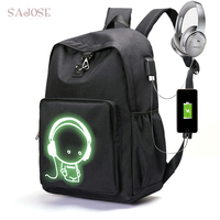 School Backpack For Girls And Boy Luminous Teenager USB Charge Computer Anti Theft Laptop Canvas Shoulder